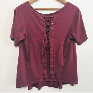 Fabletics Maroon Wine Lace Up Back Detail Medium